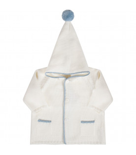 White babyboy coat with light blue details