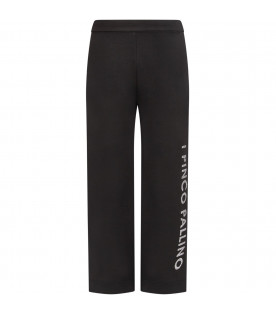 Black girl pants with silver logo