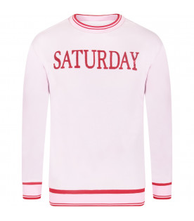 "Maxi felpa rosa ""Saturday"" per bambina"