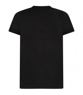 Black kids tshirt with black Times New Roman logos