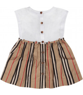 White and beige baby girl dress