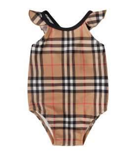 Vinatage check baby girl swimwear