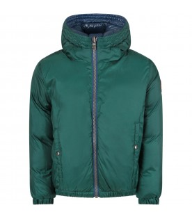 Green and blue boy jacket with iconic logo