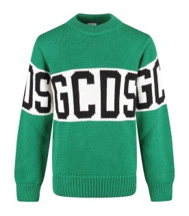 Green kids sweater with black logo