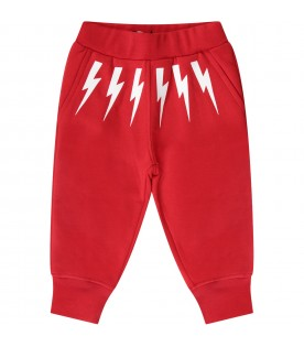 Red babyboy sweatpants with white thunders