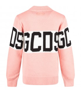 Pink girl sweater with black logo