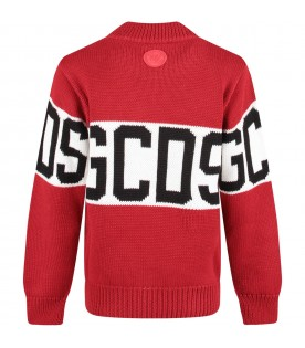 Red kids sweater with black logo