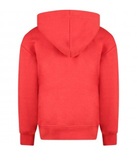 Red boy sweatshirt with blue logo and white writing