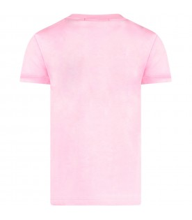"Pink girl T-shirt with black ""Msgm Milano 1977"""