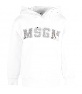 White girl sweatshirt with silver sequined logo