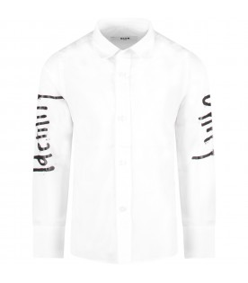 White boy shirt with black writing