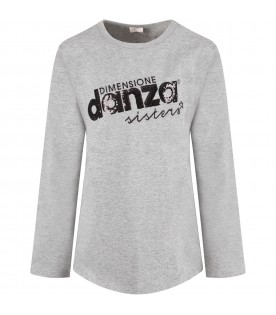 Grey girl T-shirt with sequined logo