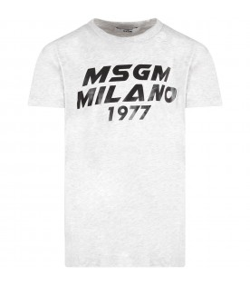 "Grey kids T-shirt with black ""Msgm Milano 1977"""