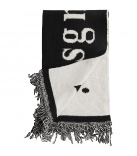 Black and white kids scarf with logo