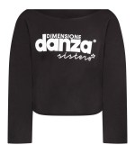 Dimensione Danza Black girl T-shirt with white lurex logo