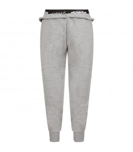 Grey girl pants with white logo