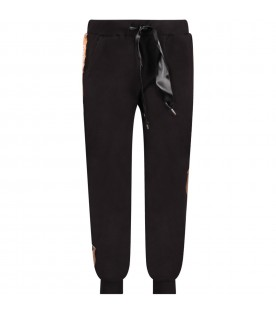Black girl pants with white logo and stripes