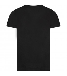 Black boy T-shirt with logo and colorful writing