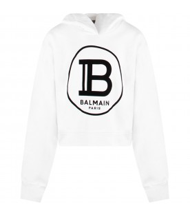 White girl sweatshirt with black logo