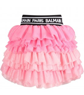 Pink girl skirt with white logo