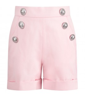 Pink girl short with iconic buttons