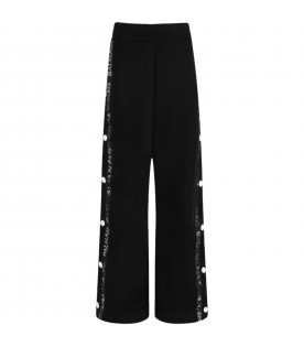 Black girl pants with iridiscent logo
