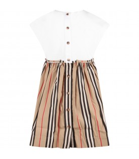 White and beige girl dress with iconic stripes
