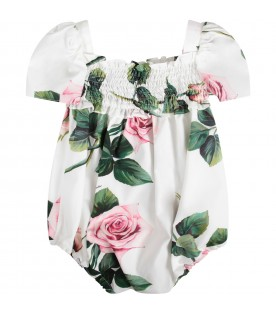 White babygirl dress with pink roses