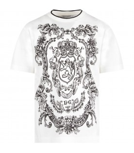 White boy T-shirt with lion and prints