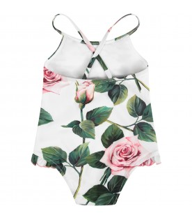 White babygirl swimsuit with pink roses