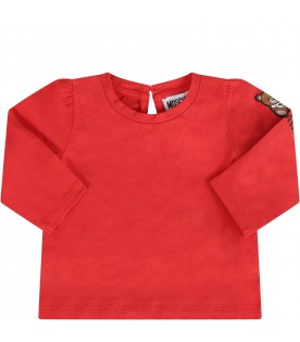 Red babygirl T-shirt with Teddy Bear