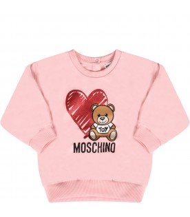 Pink and grey babygirl tracksuit with Teddy bear and heart