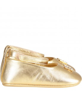 Gold ballerina shoes for babygirl with metallic logo