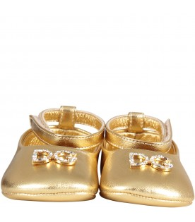 Gold babygirl ballerina shoes with metallic logo