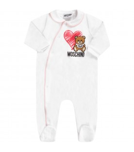 Pink and white babygirl set with Teddy Bear and heart