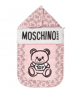 Pink babygirl sleeping bag with black Teddy Bear