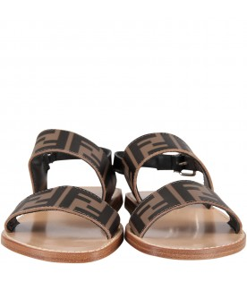 Brown kids sandals with double FF