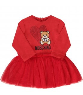 Red babygirl dress with colorful Teddy Bear