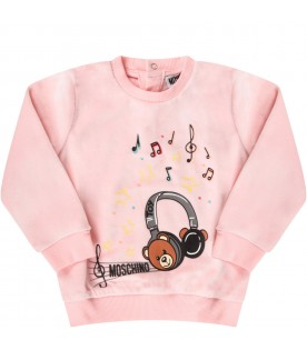 Pink babygirl tracksuit with colorful musical notes