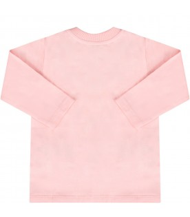 Pink babygirl T-shirt with Teddy bear and snowflakes