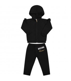 Black babygirl tracksuit with gold logo and writing