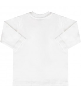White babykids T-shirt with Teddy bear and snowflakes