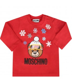 Red babyboy T-shirt with Teddy bear and snowflakes