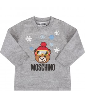 Grey babykids T-shirt with Teddy bear and snowflakes