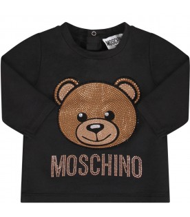 Black babygirl T-shirt with rhinestoned Teddy Bear