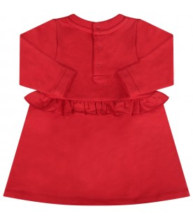 Red babygirl dress with black logo and gold writing