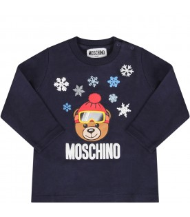 Blue babyboy T-shirt with Teddy bear and snowflakes