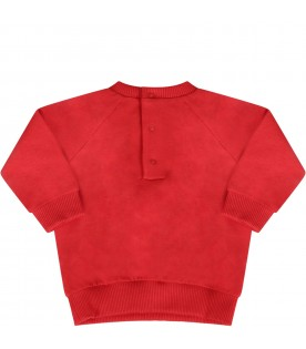 Red babaykids sweatshirt with Teddy Bear and snowman