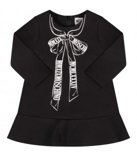 Black babygirl dress with white bow and logo