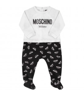 White and black babykids babygrow with black and white logo